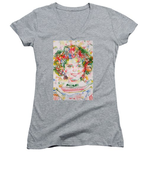 Shirley Temple - Watercolor Portrait.1 Women's V-Neck T-Shirt