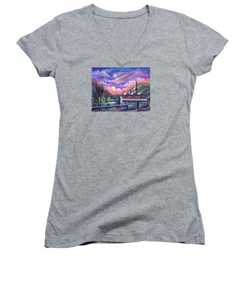 Shoot For The Moon Women's V-Neck T-Shirt (Junior Cut) by Retta Stephenson