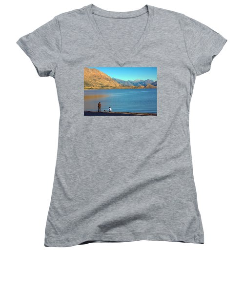 Women's V-Neck T-Shirt (Junior Cut) featuring the photograph Shooting Ducks On Lake Wanaka by Stuart Litoff