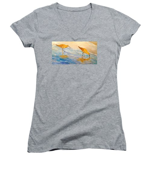 Women's V-Neck T-Shirt (Junior Cut) featuring the painting Shore Patrol by Alan Lakin