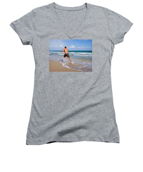 Women's V-Neck T-Shirt (Junior Cut) featuring the photograph Shore Play by Keith Armstrong