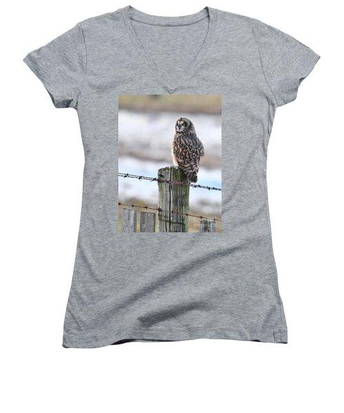 Short Eared Owl Women's V-Neck (Athletic Fit)