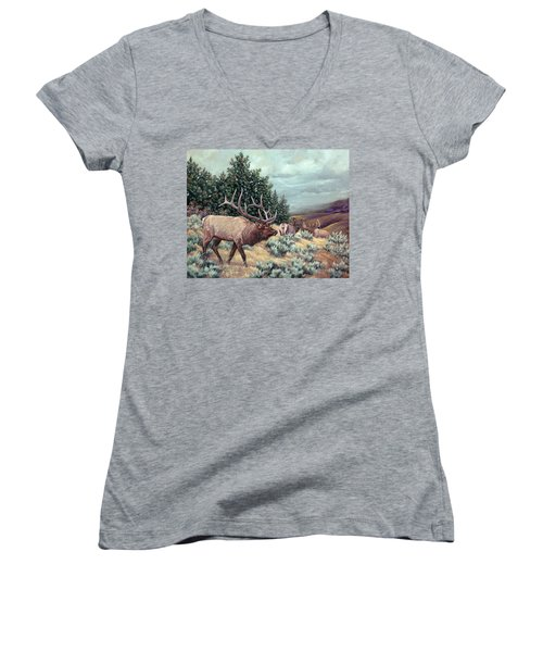 Women's V-Neck T-Shirt (Junior Cut) featuring the painting Showdown by Craig T Burgwardt