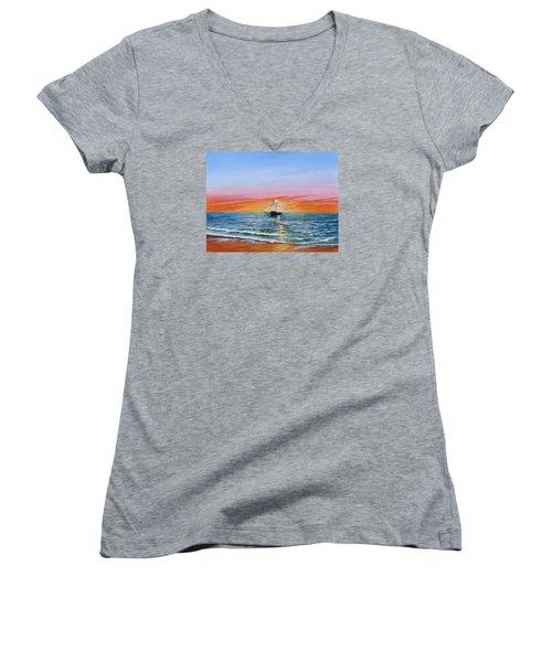 Shrimp Boat Women's V-Neck T-Shirt