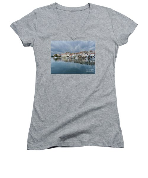 Women's V-Neck T-Shirt (Junior Cut) featuring the photograph Sibenik Waterfront - Croatia by Phil Banks