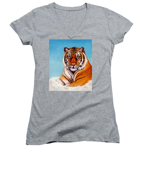 Women's V-Neck T-Shirt (Junior Cut) featuring the painting Siberian King Tiger by Bob and Nadine Johnston
