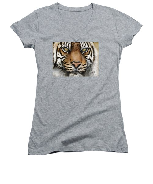 Siberian Tiger Closeup Women's V-Neck (Athletic Fit)