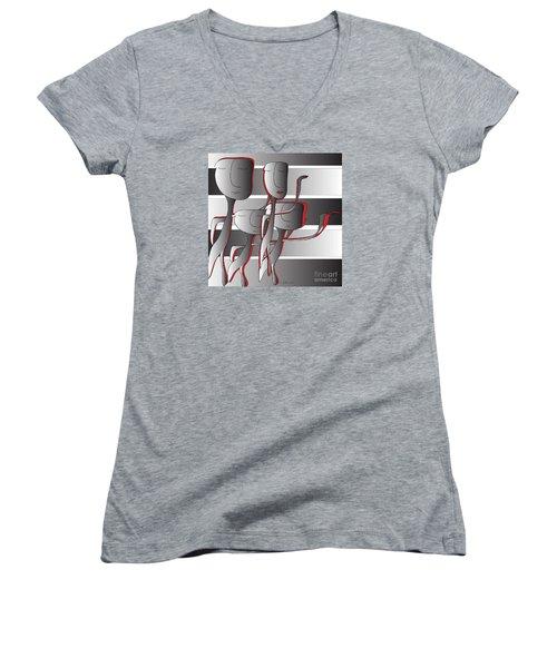 Women's V-Neck T-Shirt (Junior Cut) featuring the digital art Side By Side by Iris Gelbart