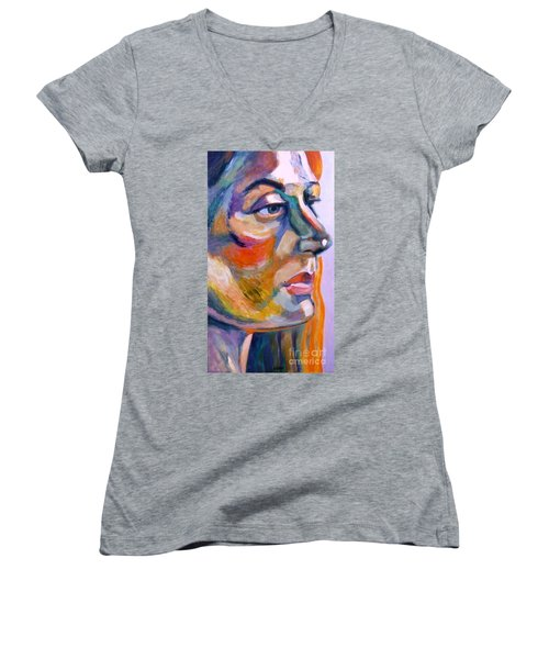 Sideview Of A Woman Women's V-Neck (Athletic Fit)