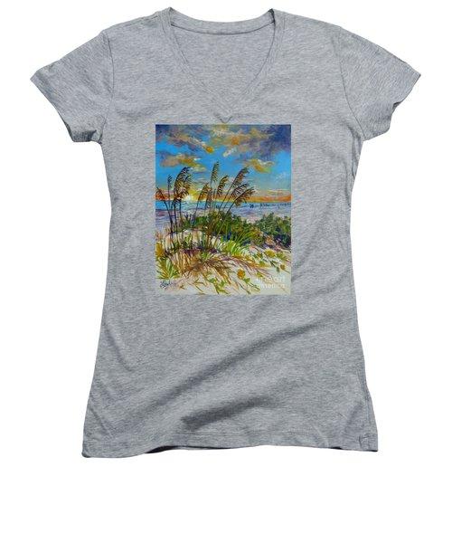 Women's V-Neck T-Shirt (Junior Cut) featuring the painting Siesta Beach Sunset Dunes by Lou Ann Bagnall