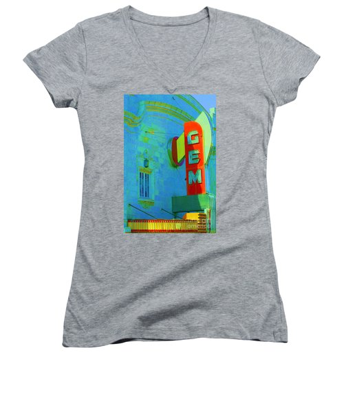 Sign - Gem Theater - Jazz District  Women's V-Neck T-Shirt (Junior Cut) by Liane Wright
