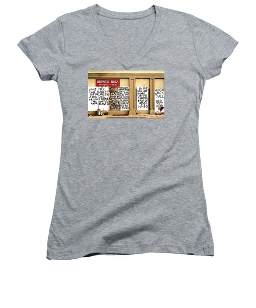 Women's V-Neck T-Shirt (Junior Cut) featuring the photograph Sign Of Distress Post Hurricane Katrina Message by Michael Hoard