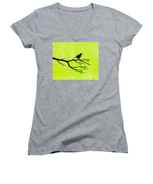 Silhouette Green Women's V-Neck T-Shirt (Junior Cut)