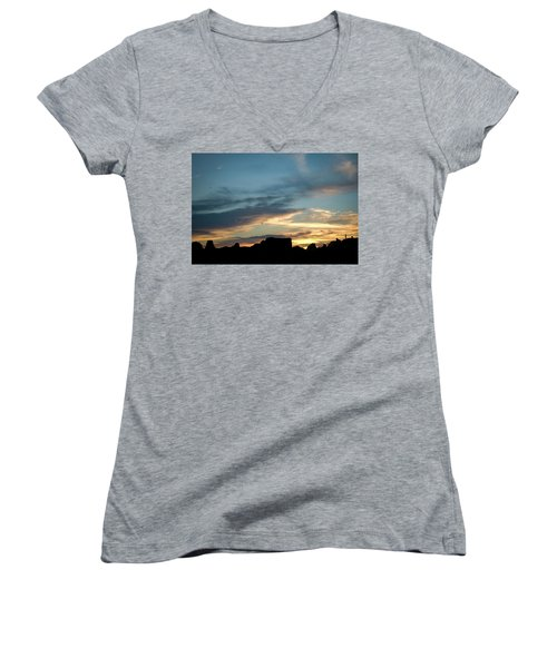 Silhouette Of A Visitor At Sunset Women's V-Neck