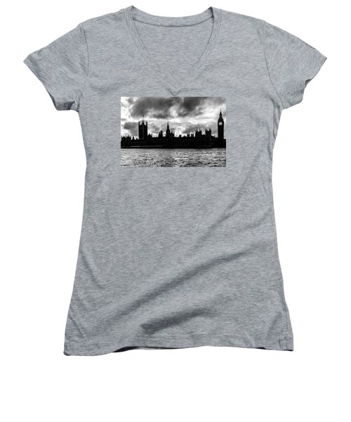 Silhouette Of  Palace Of Westminster And The Big Ben Women's V-Neck T-Shirt (Junior Cut) by Semmick Photo
