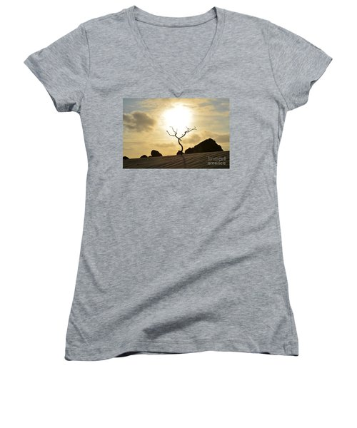 Silhouetted Tree At Dawn In Aruba Women's V-Neck (Athletic Fit)