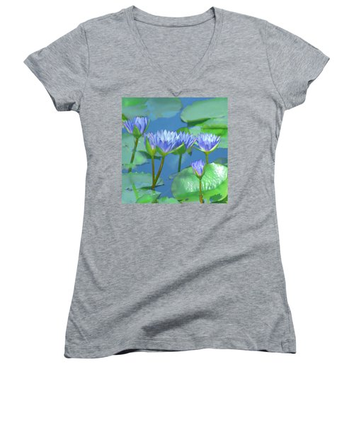 Silken Lilies Women's V-Neck T-Shirt (Junior Cut)
