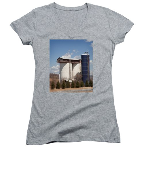 Women's V-Neck T-Shirt (Junior Cut) featuring the photograph Silo House With A View - Color by Carol Lynn Coronios