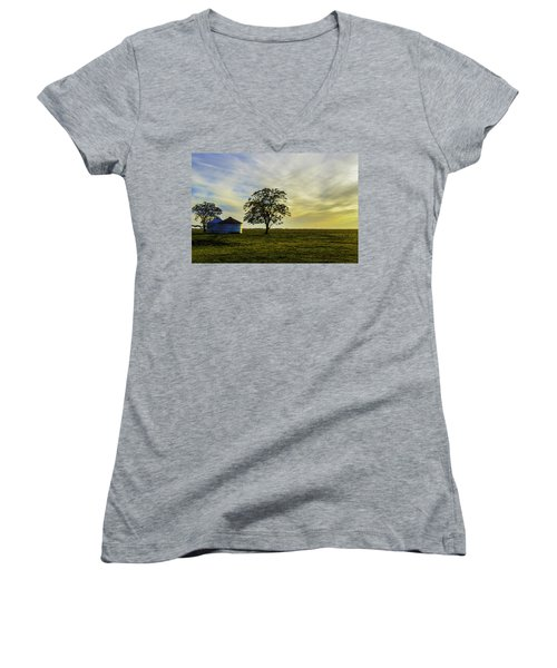 Silos At Sunset Women's V-Neck (Athletic Fit)