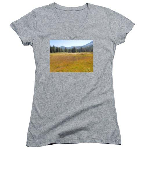 Silver Lake Area Big Cottonwood Canyon Utah Women's V-Neck T-Shirt
