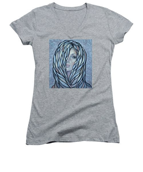 Silver Nymph 021109 Women's V-Neck T-Shirt (Junior Cut) by Selena Boron