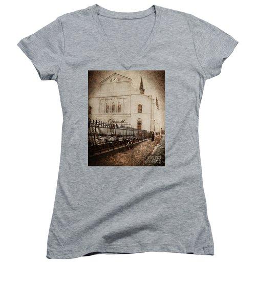Women's V-Neck T-Shirt (Junior Cut) featuring the digital art Simpler Times by Erika Weber
