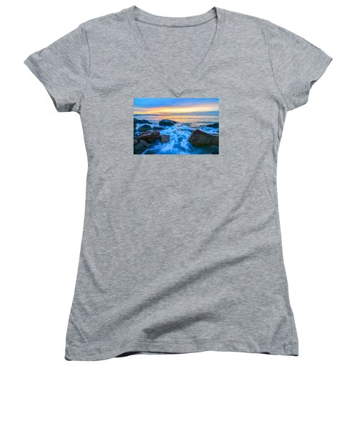 Singing Sunrise Singing Beach Women's V-Neck T-Shirt