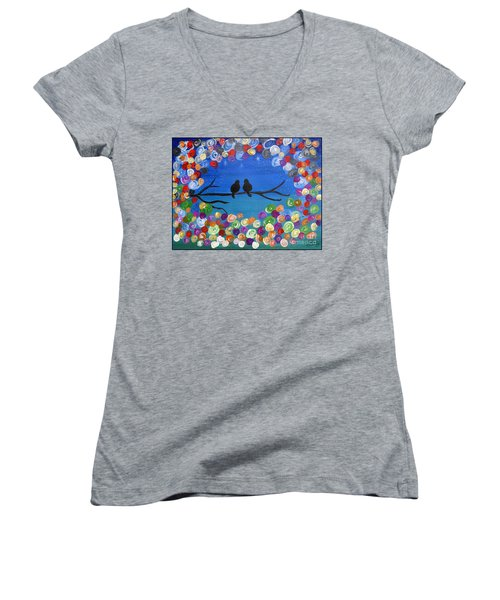 Women's V-Neck T-Shirt (Junior Cut) featuring the painting Singing To The Stars Tree Bird Art Painting Print by Ella Kaye Dickey
