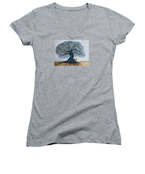Singing Under The Blues Tree Women's V-Neck T-Shirt (Junior Cut) by Nick Gustafson