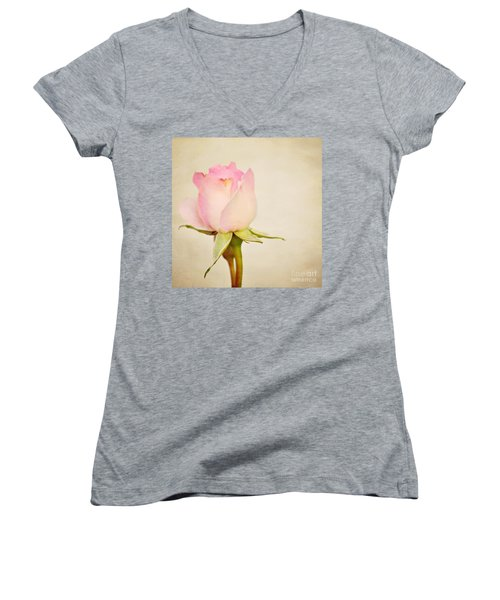 Single Baby Pink Rose Women's V-Neck (Athletic Fit)