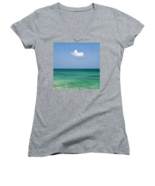 Single Cloud Over The Caribbean Women's V-Neck (Athletic Fit)