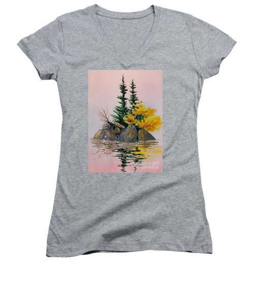 Women's V-Neck T-Shirt (Junior Cut) featuring the painting Sitka Isle by Teresa Ascone