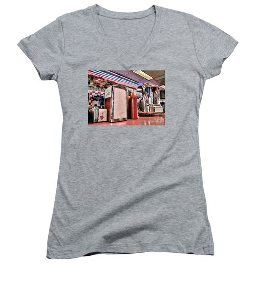 Sitting At The Counter Women's V-Neck T-Shirt
