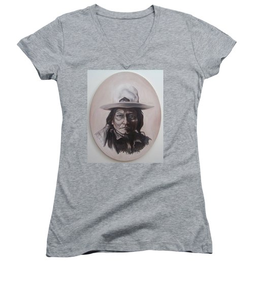 Women's V-Neck T-Shirt (Junior Cut) featuring the painting Sitting Bull by Michael  TMAD Finney