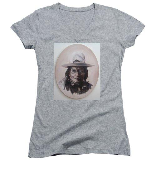 Sitting Bull Women's V-Neck T-Shirt (Junior Cut) by Michael  TMAD Finney
