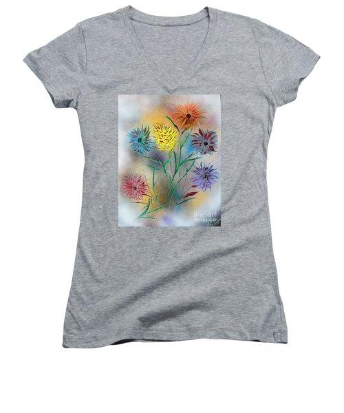 Six Flowers Women's V-Neck T-Shirt (Junior Cut) by Greg Moores