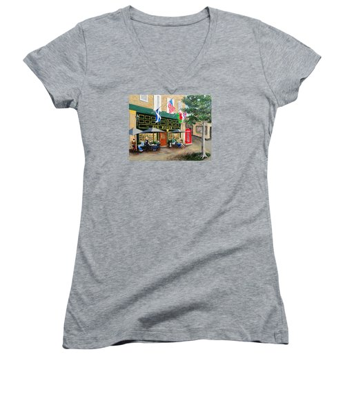 Women's V-Neck T-Shirt (Junior Cut) featuring the painting Six Pence Pub by Marilyn Zalatan