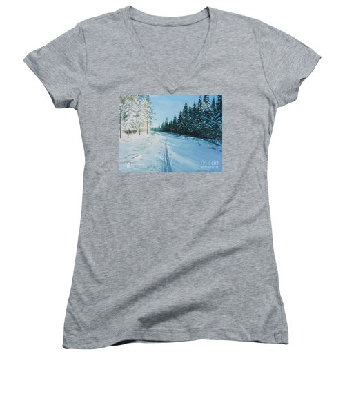 Ski Tracks Women's V-Neck T-Shirt (Junior Cut) by Martin Howard
