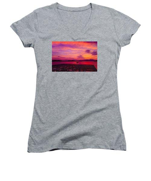 Skies Ablaze - Two Women's V-Neck T-Shirt