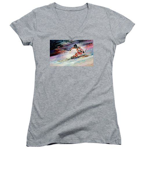 Skiing 01 Women's V-Neck (Athletic Fit)