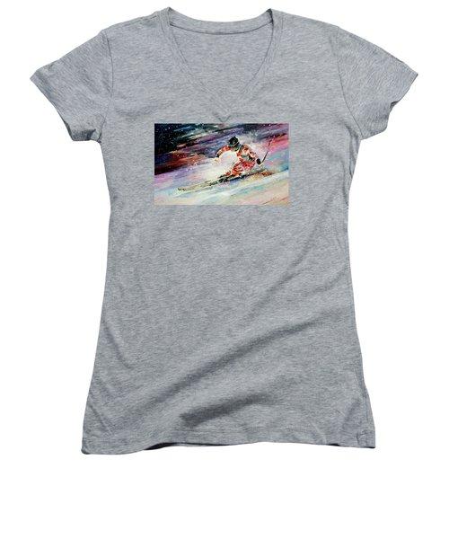 Skiing 01 Women's V-Neck T-Shirt