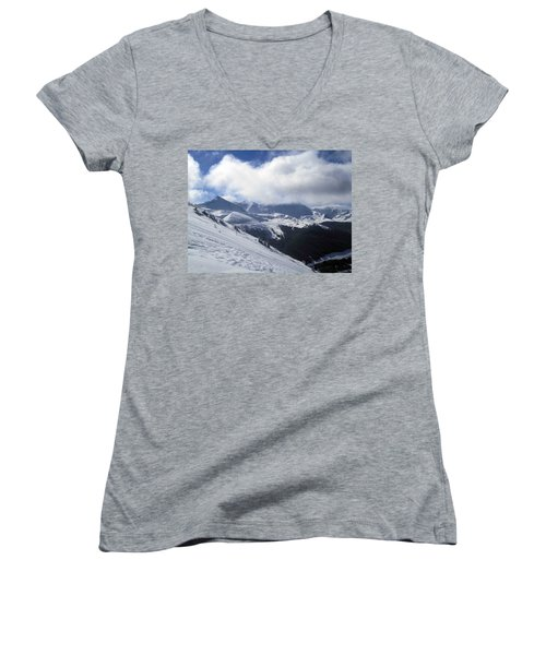 Skiing With A View Women's V-Neck T-Shirt (Junior Cut) by Fiona Kennard