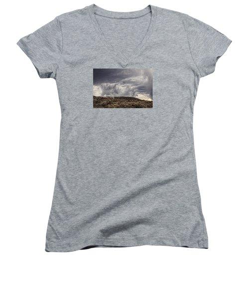 Skirting The Storm Women's V-Neck T-Shirt (Junior Cut) by Joan Davis