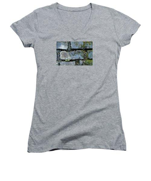 Women's V-Neck T-Shirt (Junior Cut) featuring the photograph Skc 0301 Tiny Twin Leaves by Sunil Kapadia