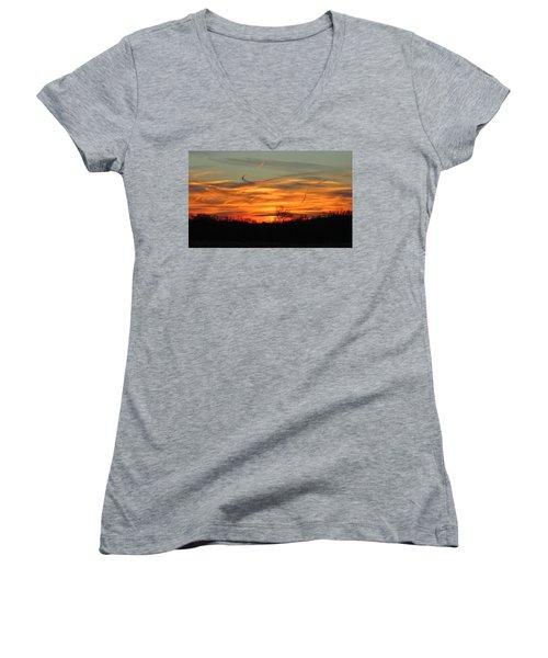 Sky At Sunset Women's V-Neck T-Shirt (Junior Cut) by Cynthia Guinn