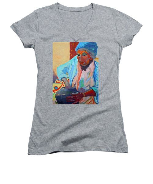 Women's V-Neck T-Shirt (Junior Cut) featuring the painting Sky City - Marie by Francine Frank