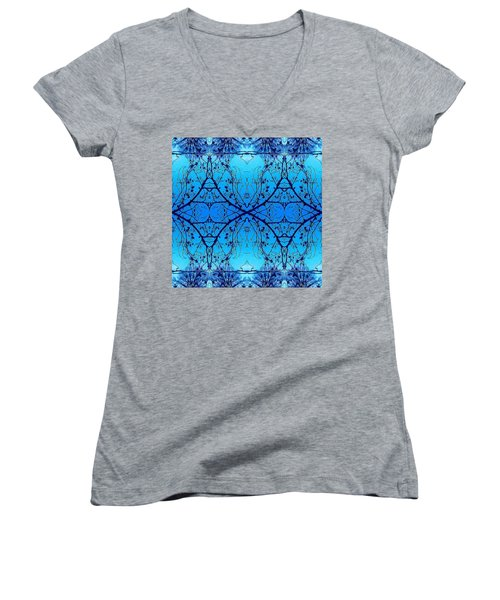 Women's V-Neck T-Shirt (Junior Cut) featuring the photograph Sky Diamonds Abstract Photo by Marianne Dow