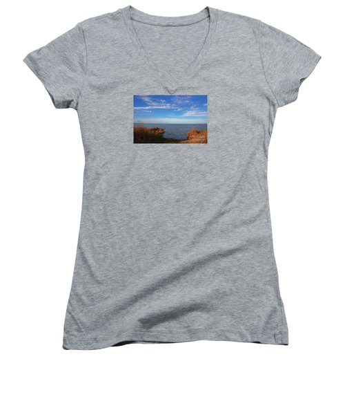 Sky Water And Grasses Women's V-Neck T-Shirt (Junior Cut) by Nareeta Martin