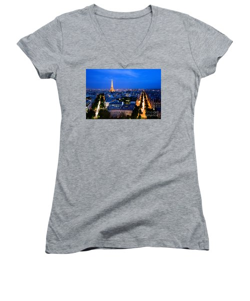 Skyline Of Paris Women's V-Neck (Athletic Fit)