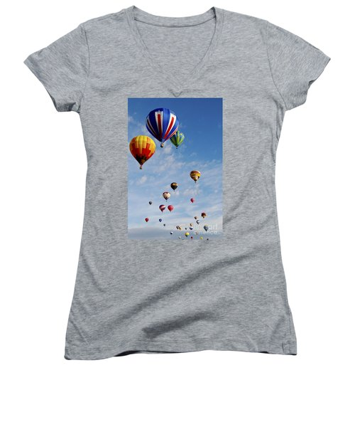 Women's V-Neck T-Shirt (Junior Cut) featuring the photograph Skyward Bound by Gina Savage